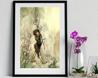 PUCK MIDSUMMER NIGHT - Arthur Rackham Art, Book Plate, Fairy Tale Art