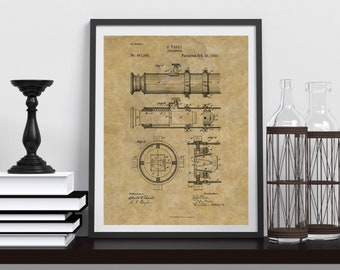 TELESCOPE PATENT POSTER | Framed Poster | Antique Paper Background | Physical Product | Gift For Him