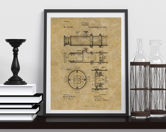 Framed TELESCOPE PATENT POSTER | Framed Poster | Antique Paper Background | Physical Product | Gift For Him
