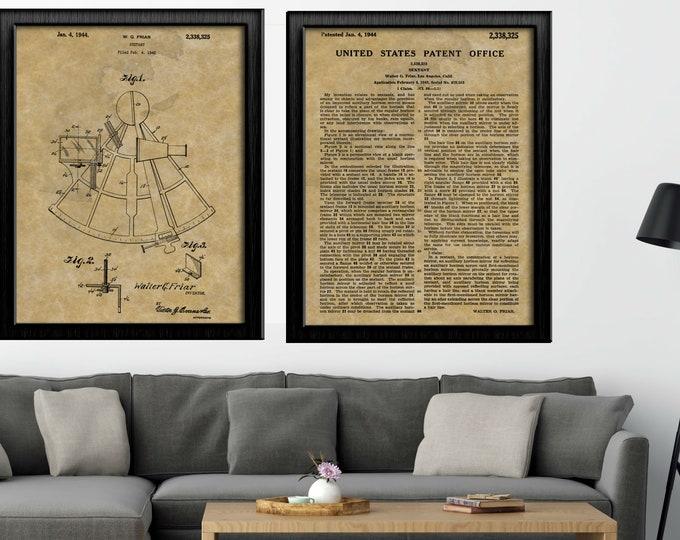 Antique Nautical Drawing | SEXTANT PATENT PRINT | Patent Office Description | Combination set | Antique Paper Background