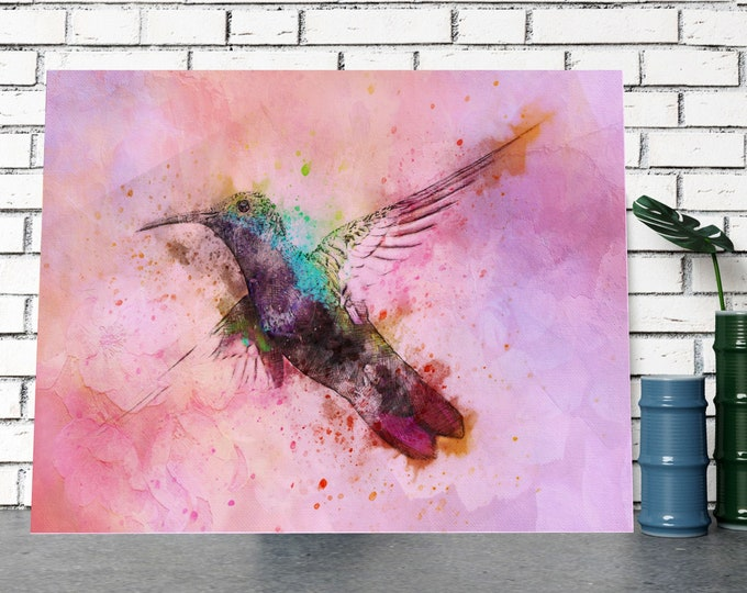 HUMMINGBIRD PRINT, Pink Watercolor Wall Art, Home Decor Gift Idea, Digital Download, Bird Wall Art, Hummingbird Poster, Bird Decor