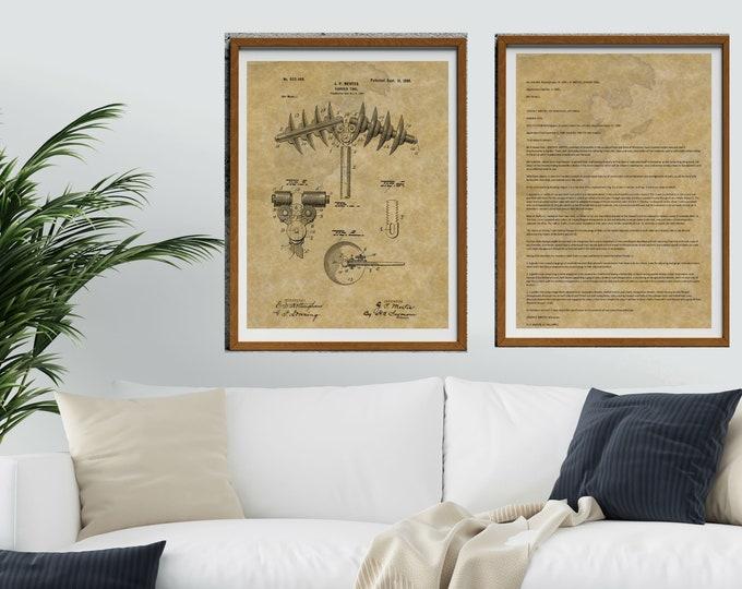 GARDEN TOOL PATENT Print - Includes 2 Vintage Patent Art Prints, Vintage Art Work, Patent Wall Art, Digital Download, Man Cave Decor