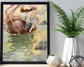 WARWICK GOBLE Digital Download, Print, Nautical Art, Home Decor, Wall Art, Fantasy Illustration, Man Cave Decor, Nursery Decor