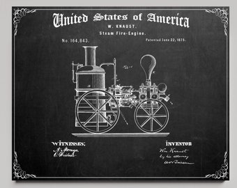 1875 STEAM ENGINE PATENT Print, Chalkboard Background, Digital Print, Vintage Black and White Old Image, Horizontal, Fire Truck Poster
