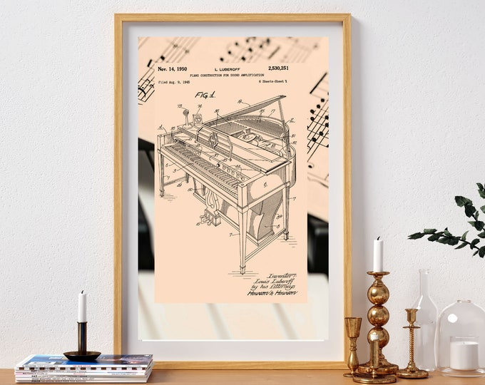 Vintage PIANO PATENT ART, Piano Sheet Music Print, Digital Download, Piano Blueprint, Home Decor, Invention Art