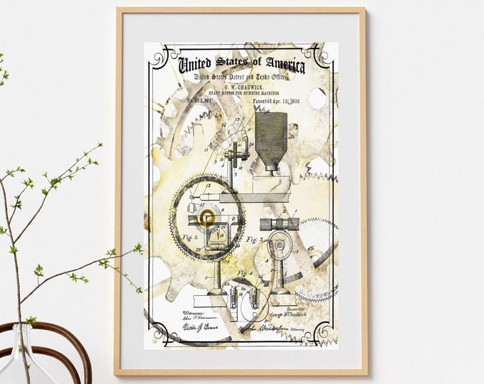 STEAMPUNK PATENT PRINT - Electric Spinning Wheel, Steampunk Decor, Art Deco Wall Art