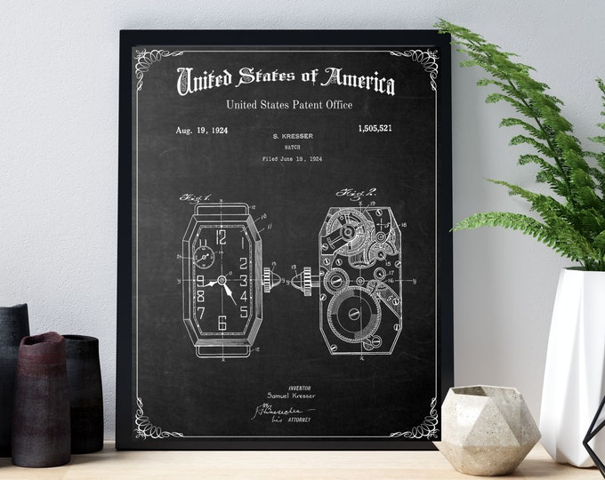 Vintage WATCH FACE PATENT Print, Vintage Patent Old Image Digital Download,