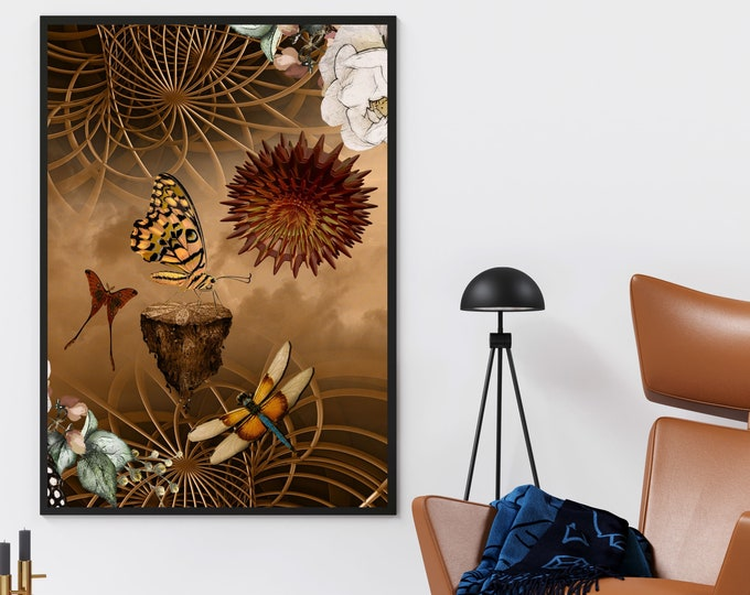 BUTTERFLIES and GEOMETRIC SPIRALS - Steampunk Poster Fantasy Art