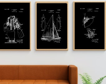 Sailboat Print, Set of 3 Prints, Printable Wall Art, Minimalist Wall Art, Man Cave Decor, Sailboat Poster, Gift For Him, Nautical Decor