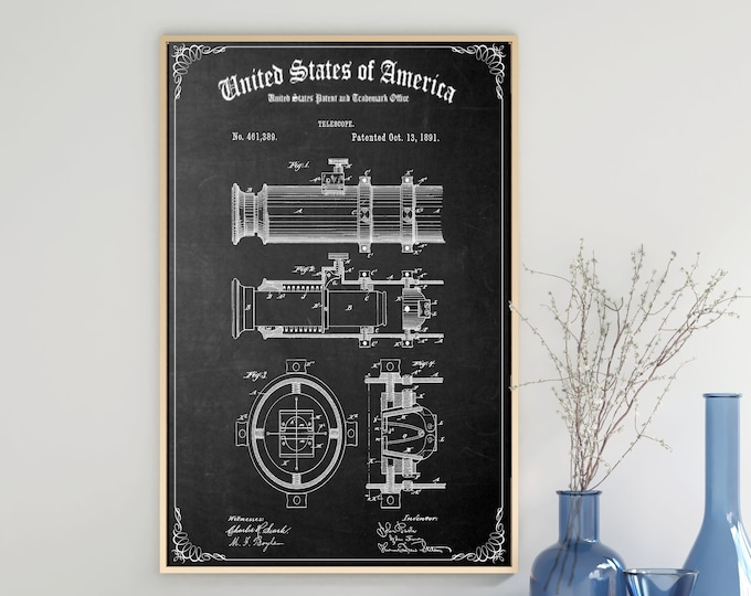 Vintage TELESCOPE PATENT PRINT, Digital Download, Antique Nautical Drawing, Boating Gift, Wall Art