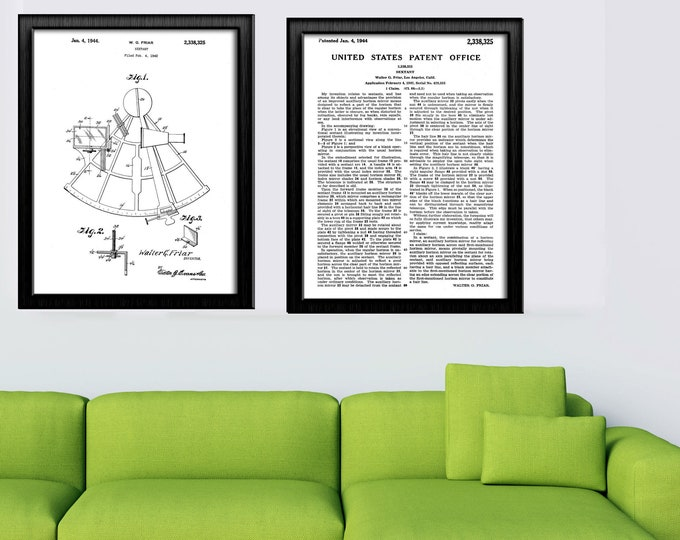 SEXTANT PATENT& US Patent Office Description - Black and White Art | Antique Nautical Drawing |  Wall Art