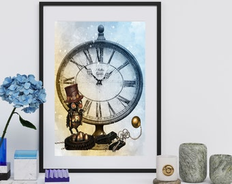STEAMPUNK OWL POSTER | Steampunk Clock | Steampunk Key | Victorian Era Print | Watercolor Industrial Art