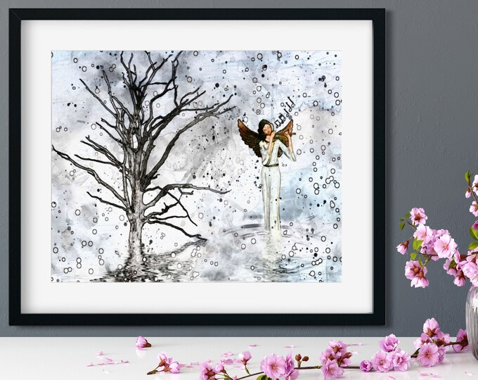 ANGEL PLAYING FLUTE - Fantasy Print, Guardian Angel Walking By Tree Whimsical Instant Download