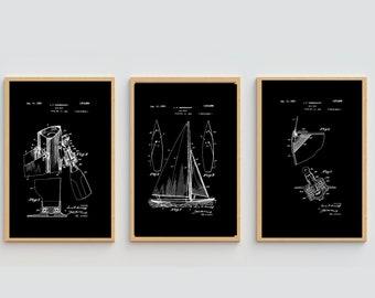 SAILBOAT PRINT SET - Patent Art, Combo Set, Black and White Print, Digital Download, Vintage Print, Large Nautical Poster Wall Art