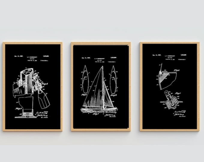 SAILBOAT PRINT SET - Patent Art, Combo Set, Black and White Print, Digital Download, Vintage Print, Large Nautical Poster Wall Art