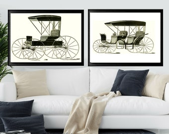 VICTORIAN CARRIAGE PRINT, 2 Print Combo, Vintage Advertising Signs, Muncie Buggie, Digital Download, Printable Wall Art, Man Cave Decor