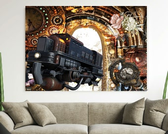 SCI-FI FANTASY Art, Steampunk Poster, Digital Download,Modern Vintage Print Of Train Going Through Tunnel