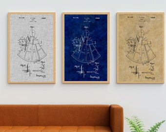 NAUTICAL ART SEXTANT | Sextant Drawing | 3 Sizes | 4 Designs |Vintage Patent Art | Digital Download | Blueprint Drawing | Office Art