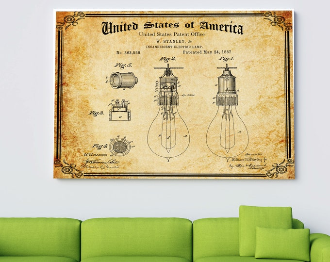 Vintage LIGHT BULB PATENT Print, Digital Download, Printable Wall Art, Vintage Print, Electrician's Gift, Man Cave Decor, Home Decor