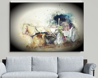 Vintage HORSE and CARRIAGE WATERCOLOR Poster Cozy Vignette Of Victorian Era