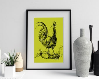 Chartreuse Pen and Ink ROOSTER PRINT, Digital Download, Kitchen Wall Art, Farmhouse Art,4 Sizes Included, Rooster Wall Art, Chartreuse Art