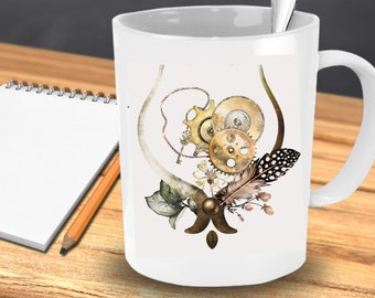 STEAMPUNK DESIGN Coffee MUG | Steampunk Cogs | Steampunk Woman Will Love This Coffee Mug