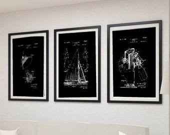 Digital Download SAILBOAT PATENT PRINT  Black and White Print Art Created From Carefully Restored Vintage Patent Drawings