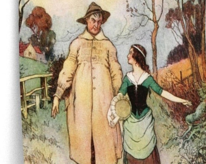 Warwick Goble Poster - Man and Woman Walking Print Home Decor Wall Art
