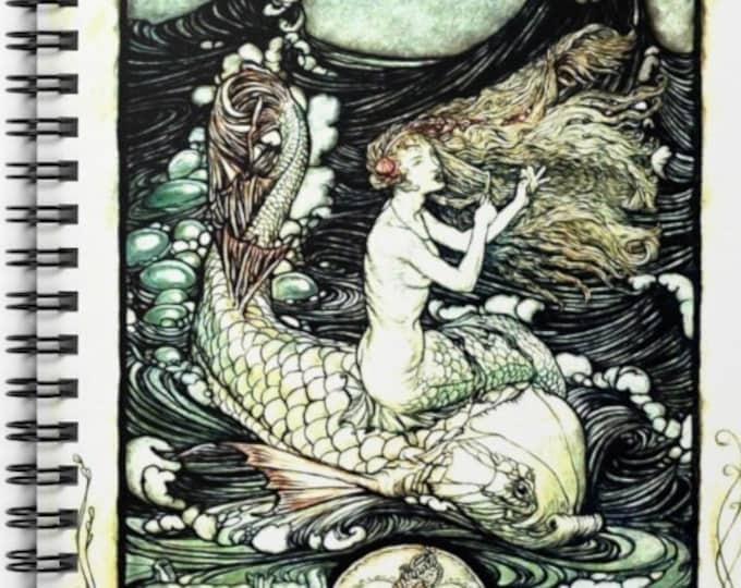 MERMAID ON DOLPHIN Journal, Rackham Print Cover, Bullet Journal, Spiral Notebook, Fantasy Art, Lined Journal, Scrapbook