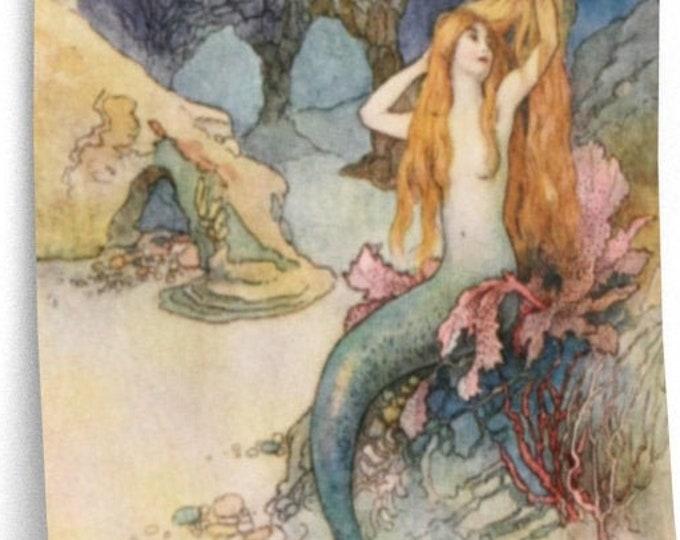 WARWICK GOBLE, Mermaid and Dragon Print, Home Decor, Fantasy Art, Nursery Wall Art, Nursery Decor, Man Cave Decor, Nautical Art