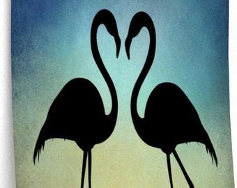 BLACK FLAMINGOS Silhouette At Sunset - Animal Wall Art, Flamingo Poster, Gift For Flamingo Lover