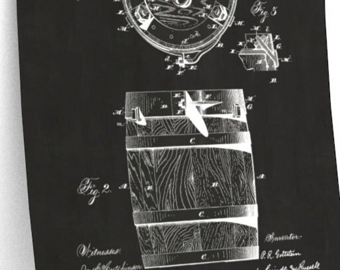 VINTAGE WHISKEY BARREL Patent - Vintage Patent Poster, Man Cave Decor, Bar Decor, Whiskey Art