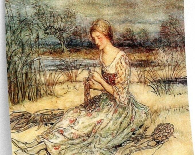RACKHAM PRINT WOMAN Weaving  - Bookplate, Fairy Tale Illustration, Fairy Art, Anime