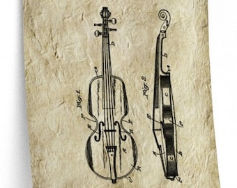 VINTAGE VIOLIN PATENT Print - Violin Wall Art, Muscian Gift, Parchement Paper, Vintage Art, Violin Teacher Gift