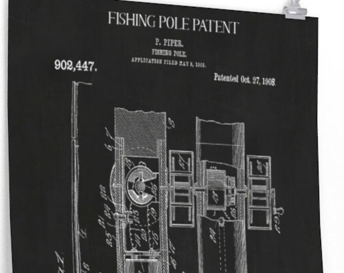 Vintage FISHING POLE PATENT Print - Chalkboard background, Father's Day Gift, Gift For him, Man Cave Decor