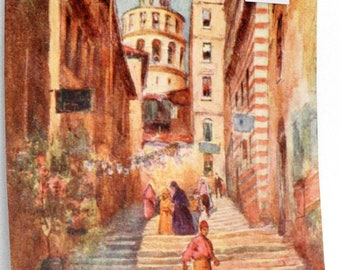Constantinople Series Print Stairs In Front Of Mosque Warwick Goble