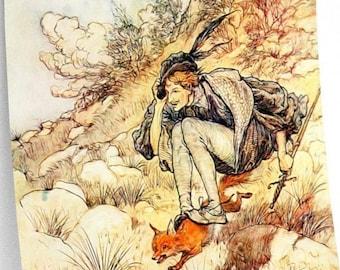 BOY RIDES FOX - Arthur Rackham, Fantasy Book Art, Watercolor Illustration