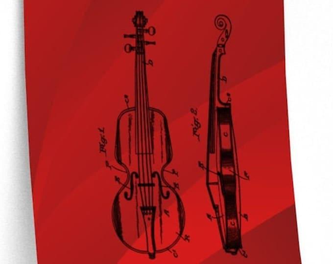 PATENT PRINT VIOLIN - Violin Wall Art, Violin Poster, Red Wall Art, Man Cave Decor, Violin Gift, Muscian Gift, Music Room Decor