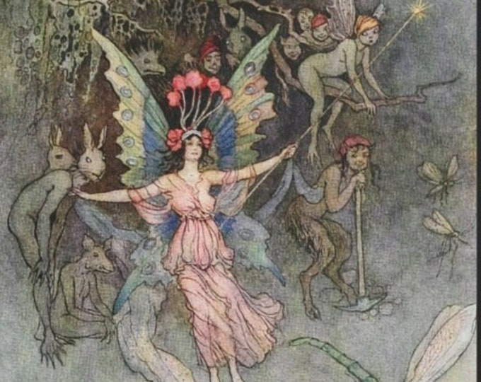 Framed Warwick Goble Fairy and Centaur With Mythological Creatures Print