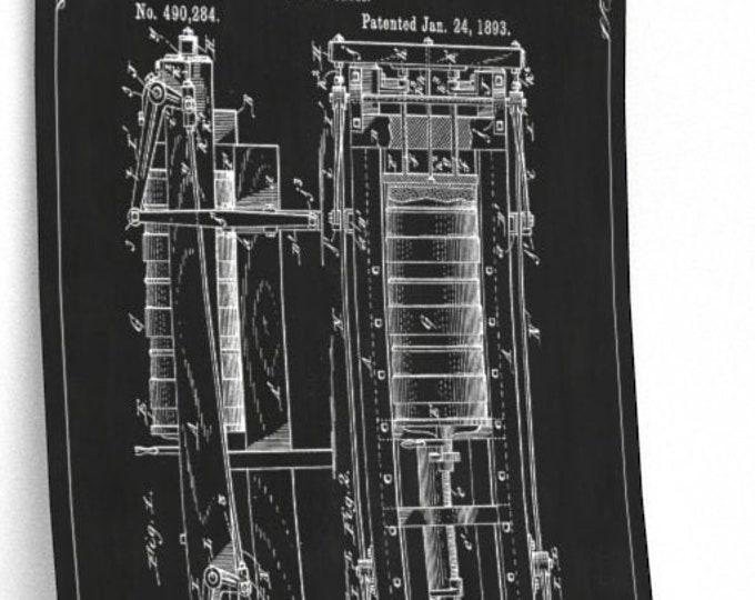 VINTAGE PATENT POSTER - Cheese Press Patent Print, Kitchen Art, Black and White Illustration