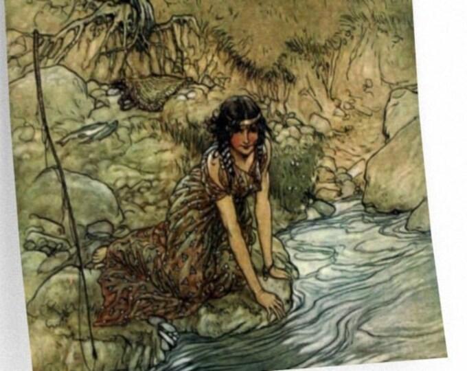 RACKHAM BOOK ILLUSTRATION - Fairy Tale Art Poster, Woman Washing By Stream, Watercolor Print, Vintage Wall Art