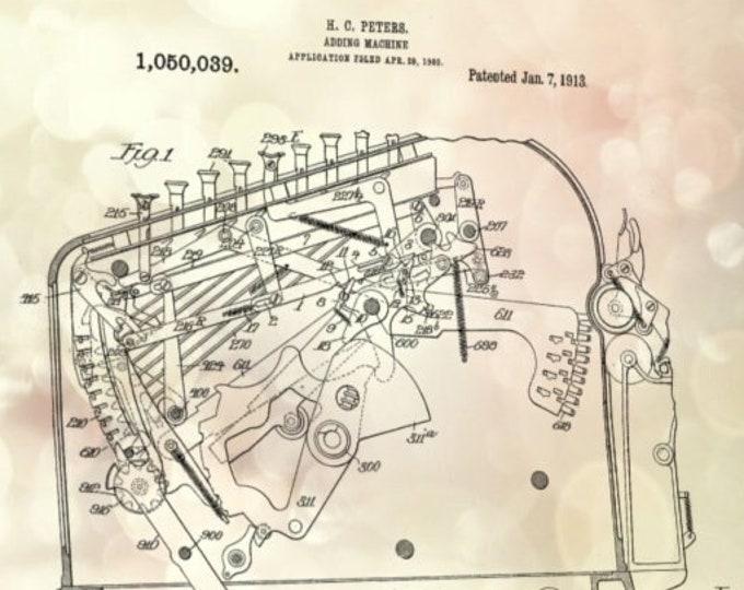 ACCOUNTANT GIFT - Vintage Adding Machine, Patent Print, Man Cave Decor, Office Decor, Wall Decor, Wall Art Pints, Minimalist Art