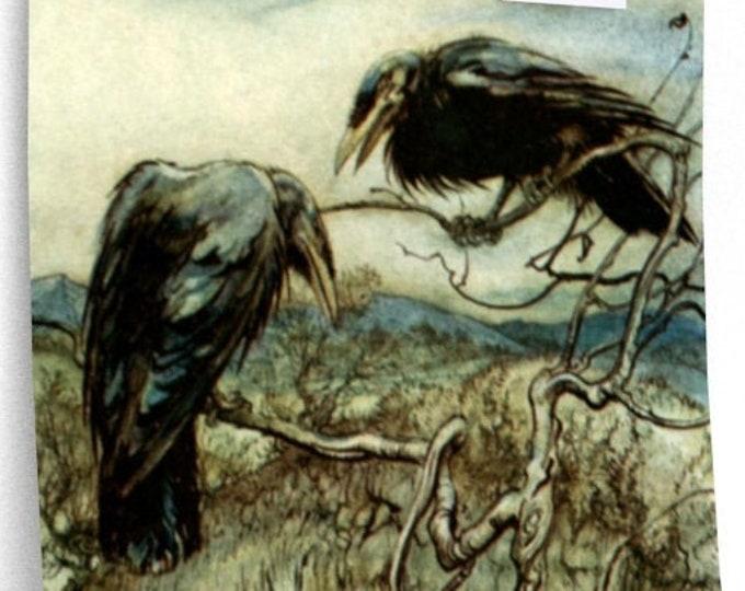 CORBIES PRINT - Arthur Rackham Fairy Tale Illustration, Book Plate, Ravens In Tree