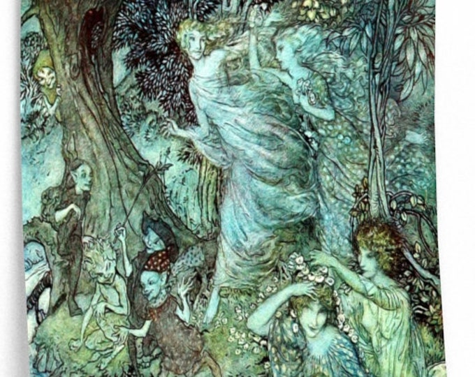 FAIRIES AND ELVES Rackham Print, Odine Fairy Tale Print, Fables, Myths, Book Illustration, Vintage Art, Arthur Rackham Wall Art