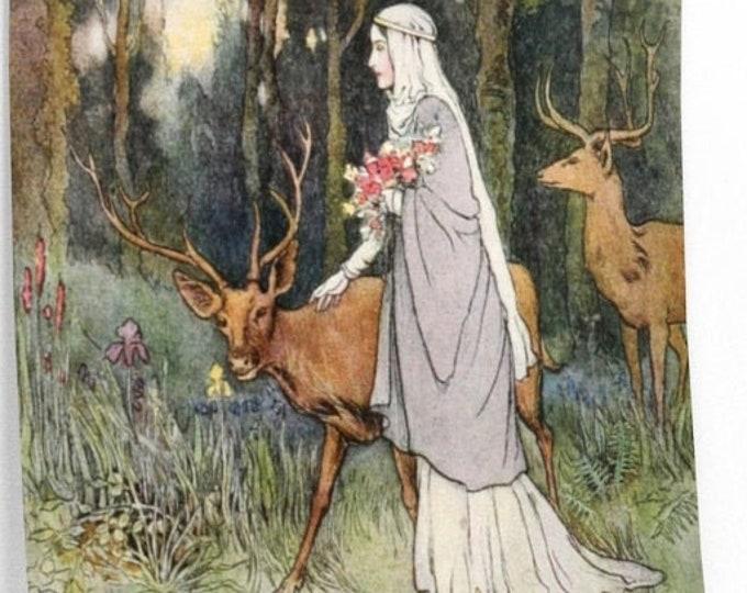 WARWICK GOBLE PRINT, Maid in Forest, Poster, Wall Art, Book Illustration, Fantasy Art Print, Nursery Decor, Home Decor, Fairy Tale Print