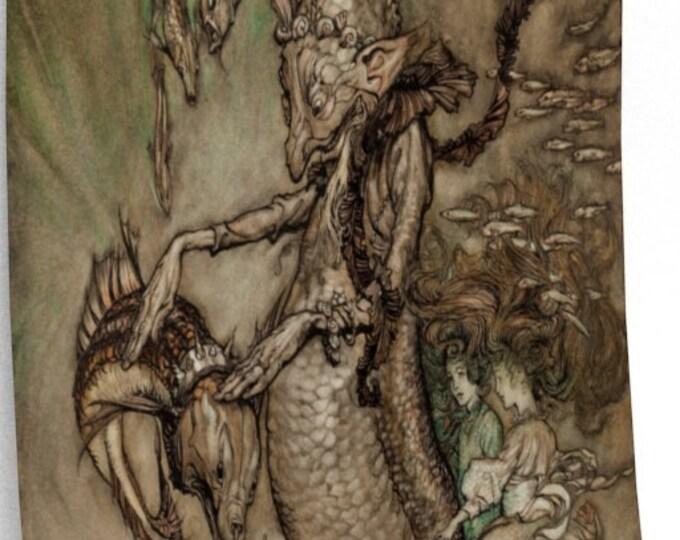 UNDERWATER CREATURES RACKHAM Print - Elves, Carp, Fantasy Art Print, Book Illustration, Child Room Decor, Vintage Poster