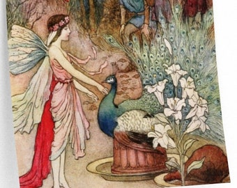 WARWICK GOBLE PRINT - Fairy & Peacock, Fantasy Art, Nursery Decor, Baby Shower Gift, Gift for Her, Vintage Decor, Home Decor, Fairies