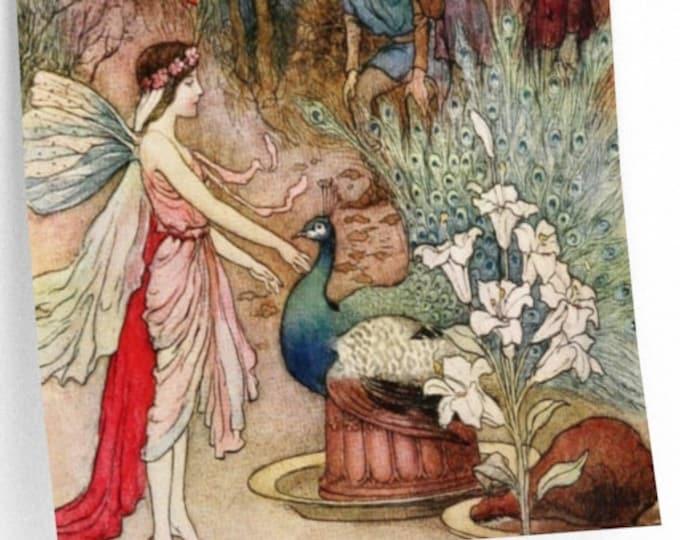 WARWICK GOBLE PRINT - Fairy & Peacock, Fantasy Art, Nursery Decor, Baby Shower Gift, Gift for Her, Vintage Decor, Home Decor, Fairies
