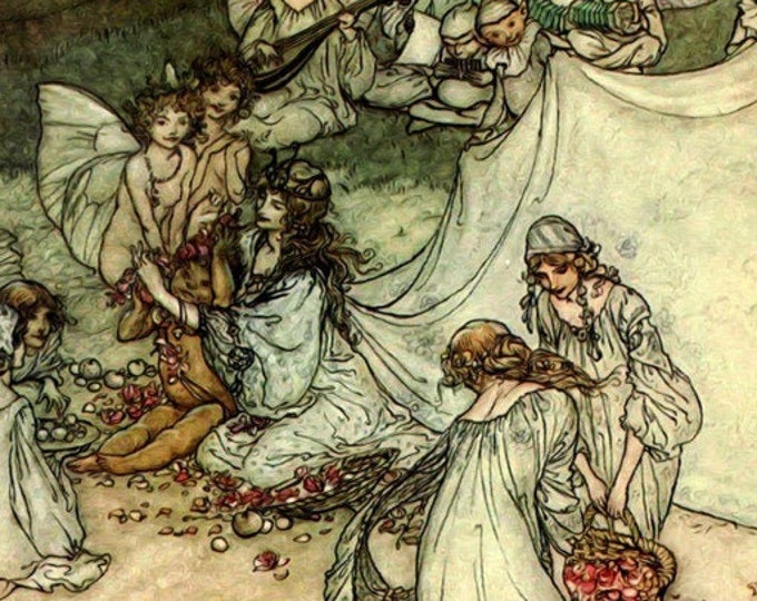 FAIRY ART PRINT - Vintage Book Plate Illustration, Enchanted Forest Poster by Arthur Rackham