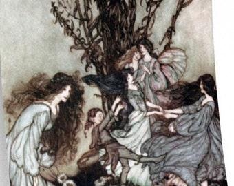 FAIRY DANCE RACKHAM Print - Fantasy Wall Art, Fairy Tale Book Illustration, Vintage Art, Arthur Rackham Poster, Nursery Decor